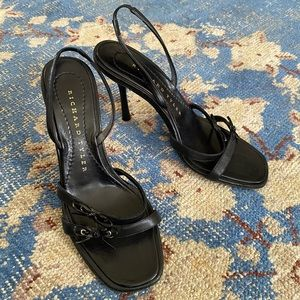 Richard Tyler Strappy Leather Bow Y2K Sandals 6.5